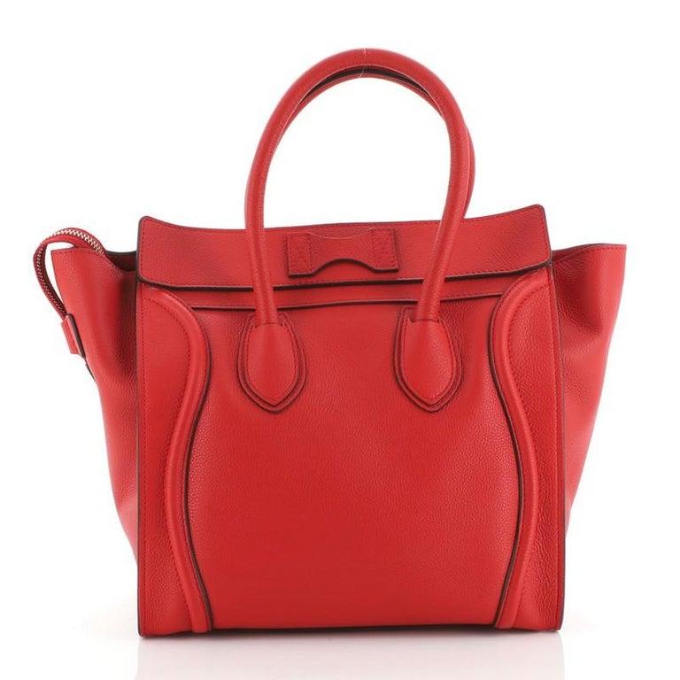 Red Celine Luggage Bag Grainy Leather Mini