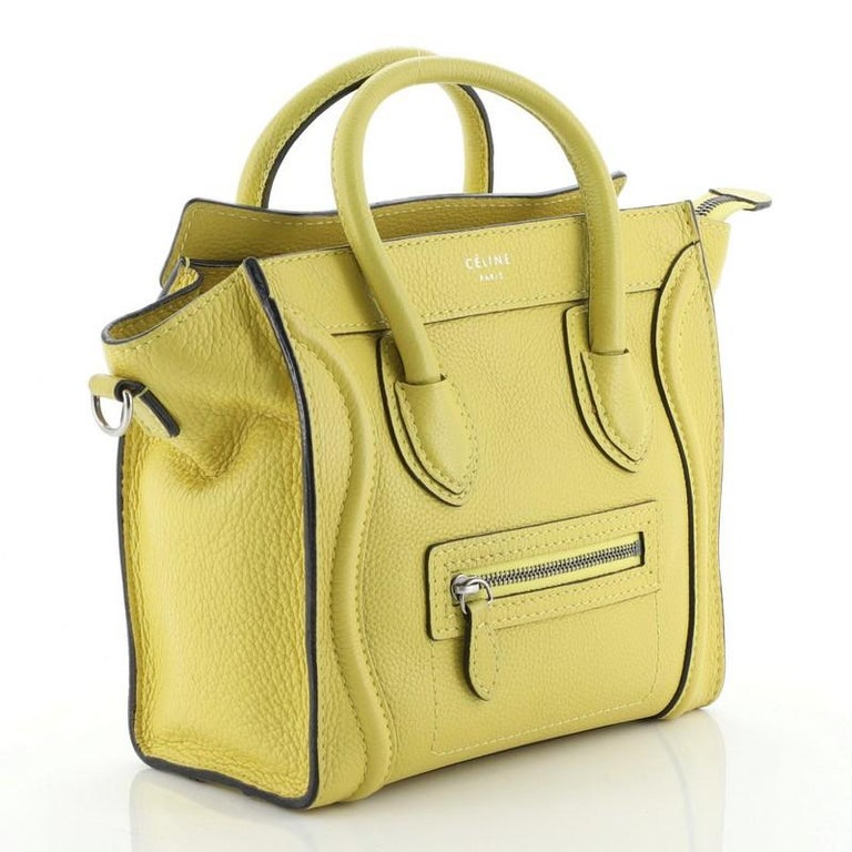 Celine Luggage Bag Grainy Leather Nano In Good Condition For Sale In New York, NY