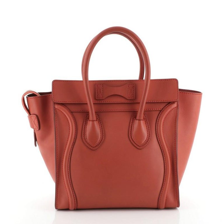 Brown Celine Luggage Bag Smooth Leather Micro For Sale