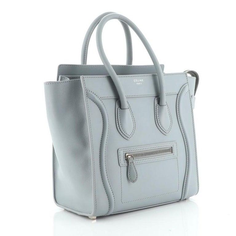 Gray Celine Luggage Bag Smooth Leather Micro