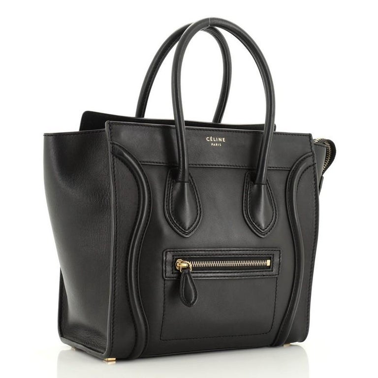 Black Celine Luggage Bag Smooth Leather Micro