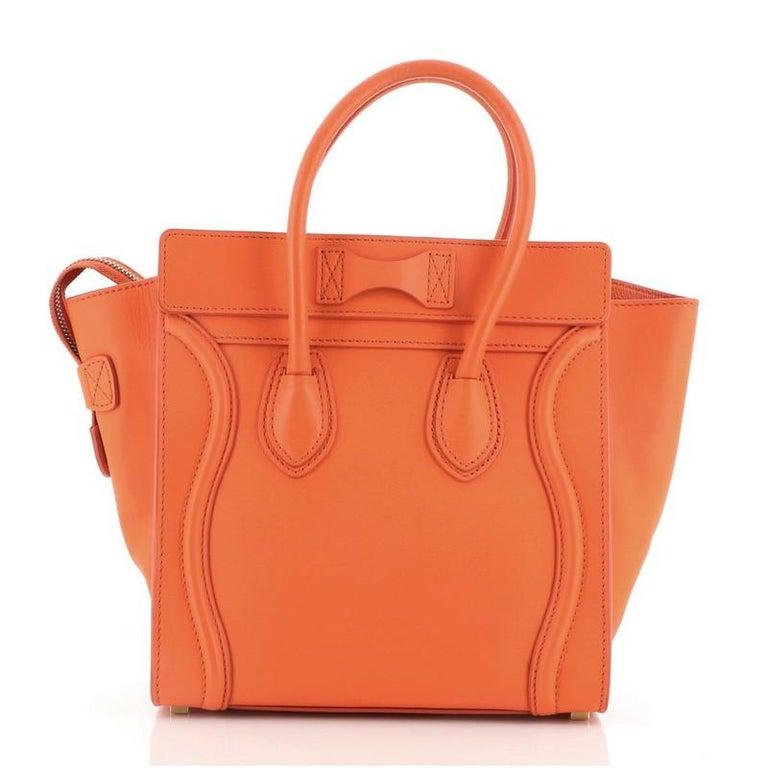 Orange Celine Luggage Bag Smooth Leather Micro For Sale