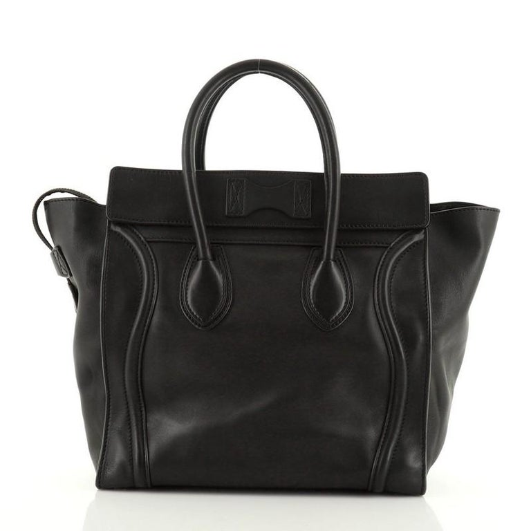 Celine Luggage Bag Smooth Leather Mini In Fair Condition For Sale In New York, NY