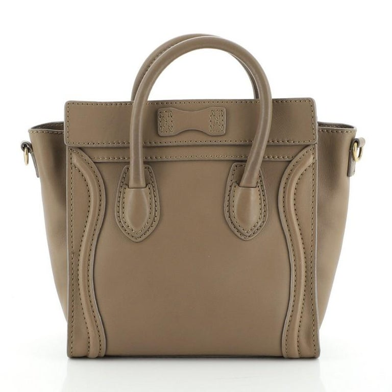 Celine Luggage Bag Smooth Leather Nano In Good Condition For Sale In New York, NY