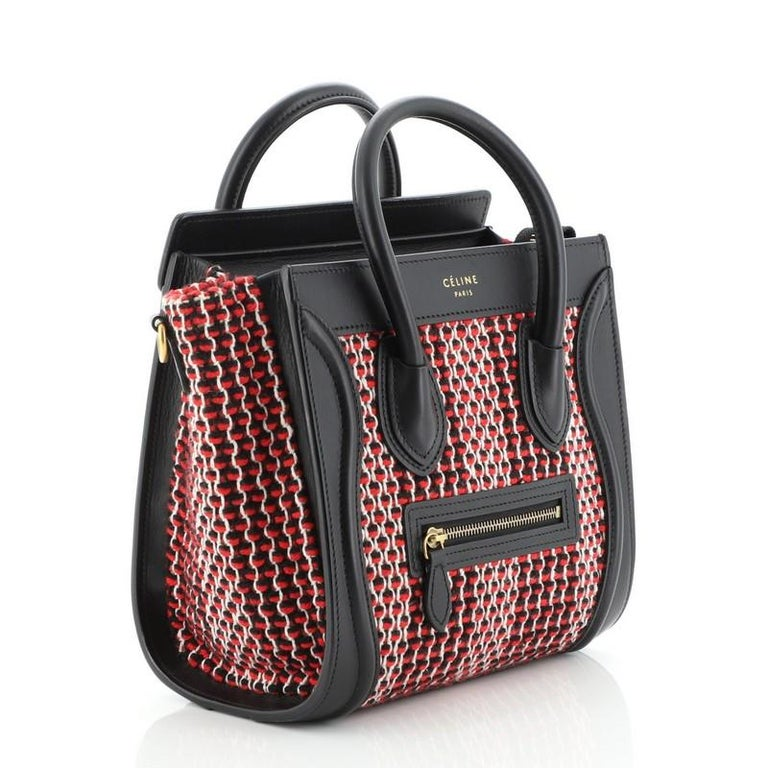 Black Celine Luggage Bag Tweed Nano For Sale