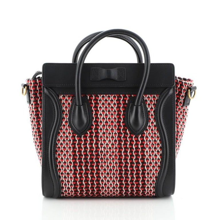 Celine Luggage Bag Tweed Nano In Good Condition For Sale In New York, NY