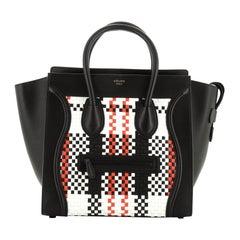 Celine Luggage Bag Woven Leather Mini