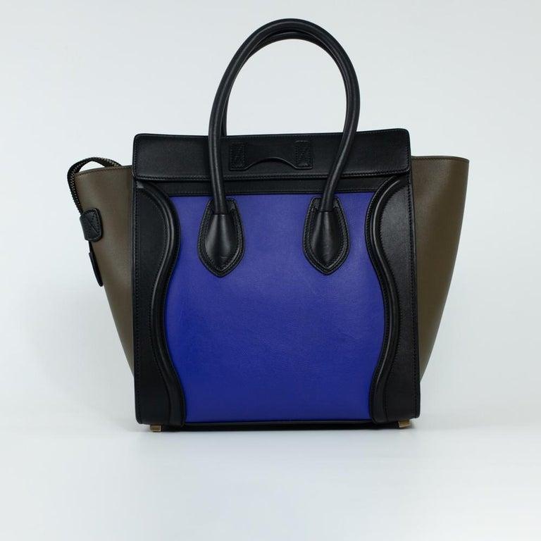 Black CÉLINE luggage Handbag in Blue Leather For Sale