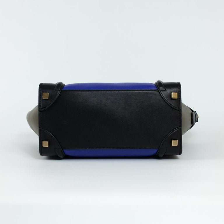 CÉLINE luggage Handbag in Blue Leather In Excellent Condition For Sale In Clichy, FR