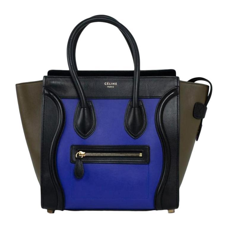 CÉLINE luggage Handbag in Blue Leather For Sale