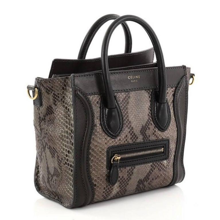 Black Celine Luggage Handbag Python And Leather Nano For