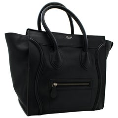 CELINE Luggage Mini Shopper Bag Handbag Leather Black