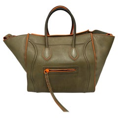 Cèline Luggage Phantom Bag in Gray Leather with Fluorescent Orange Inserts