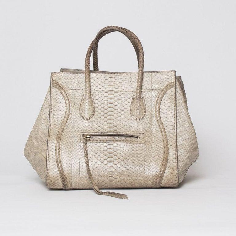 Beige Celine Luggage Phantom Python Handbag 2013 For Sale