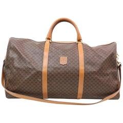 Céline Macadam Boston Duffle with Strap 870448 Brown Coated Canvas Travel Bag