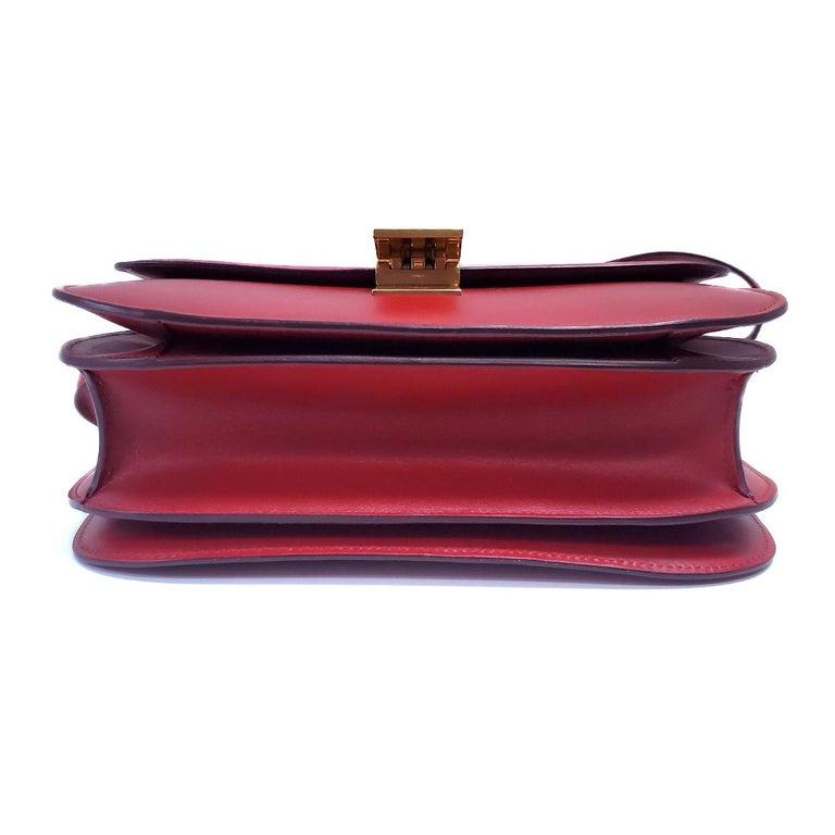 Celine Medium Classic Red Leather Shoulder Bag For Sale 1