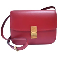 Celine Medium Classic Red Leather Shoulder Bag