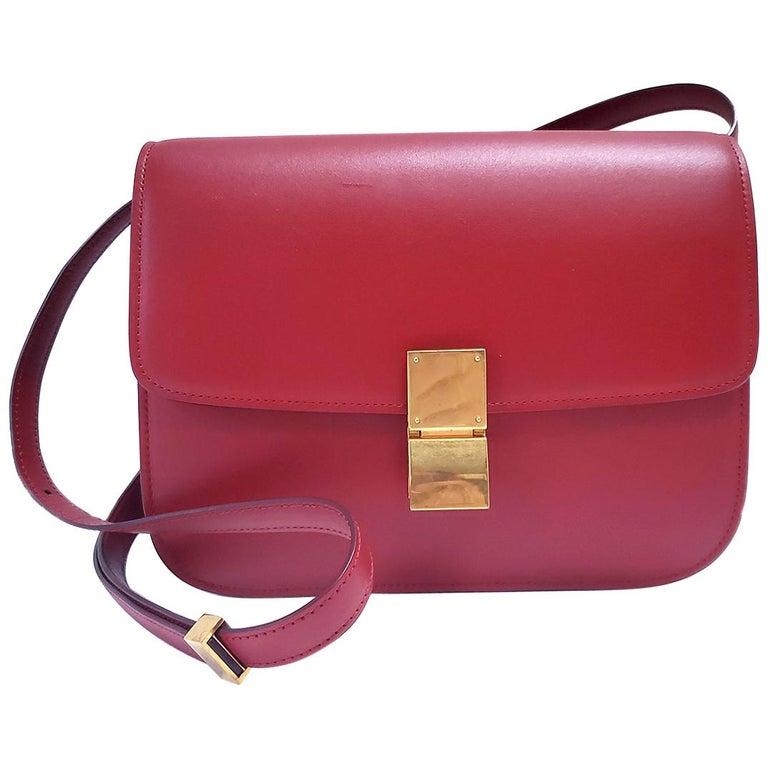 Celine Medium Classic Red Leather Shoulder Bag For Sale
