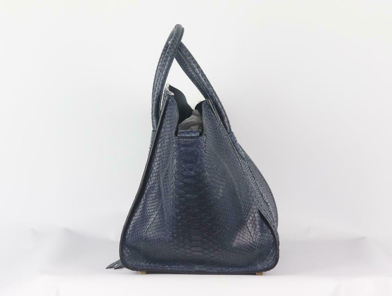 Black Celine Medium Python Phantom Luggage Tote Bag For Sale