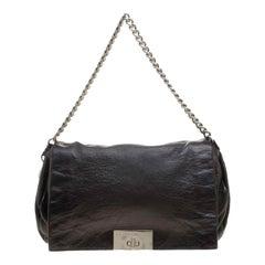 Celine Metallic Black Leather Shoulder Bag