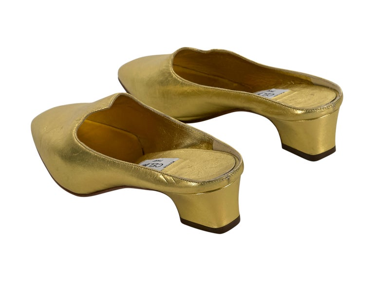 Brown Celine Metallic Gold Leather Mules For Sale