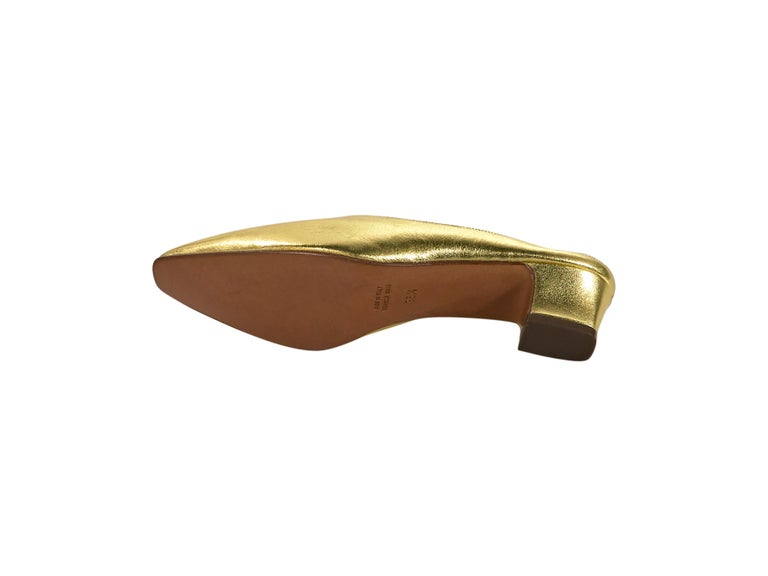 Celine Metallic Gold Leather Mules In Good Condition For Sale In New York, NY