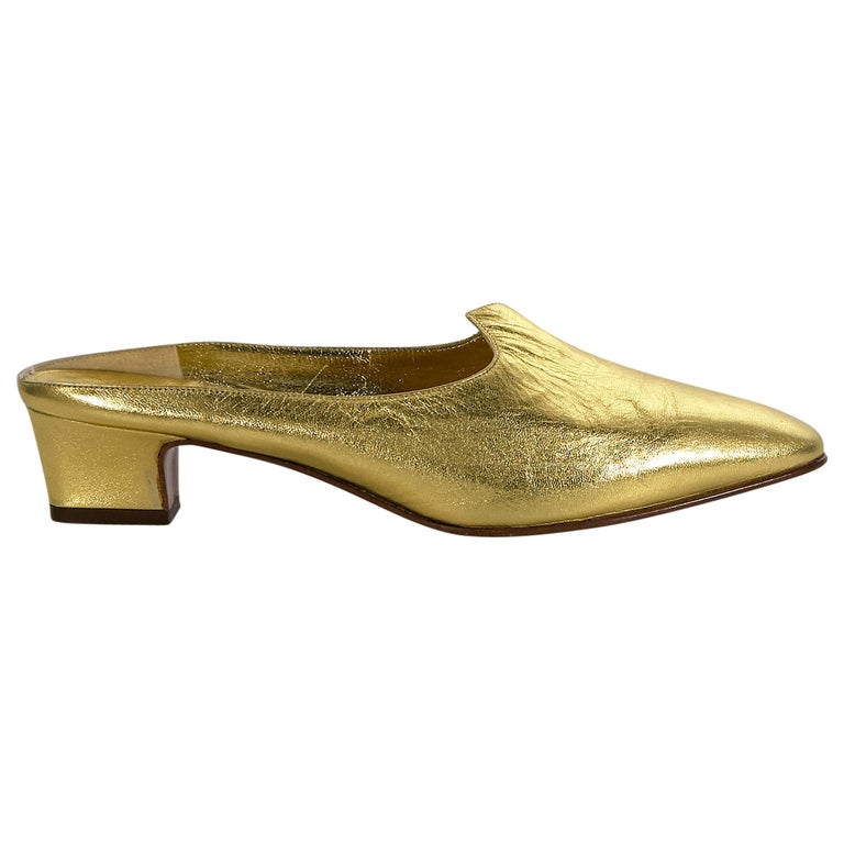 Celine Metallic Gold Leather Mules For Sale