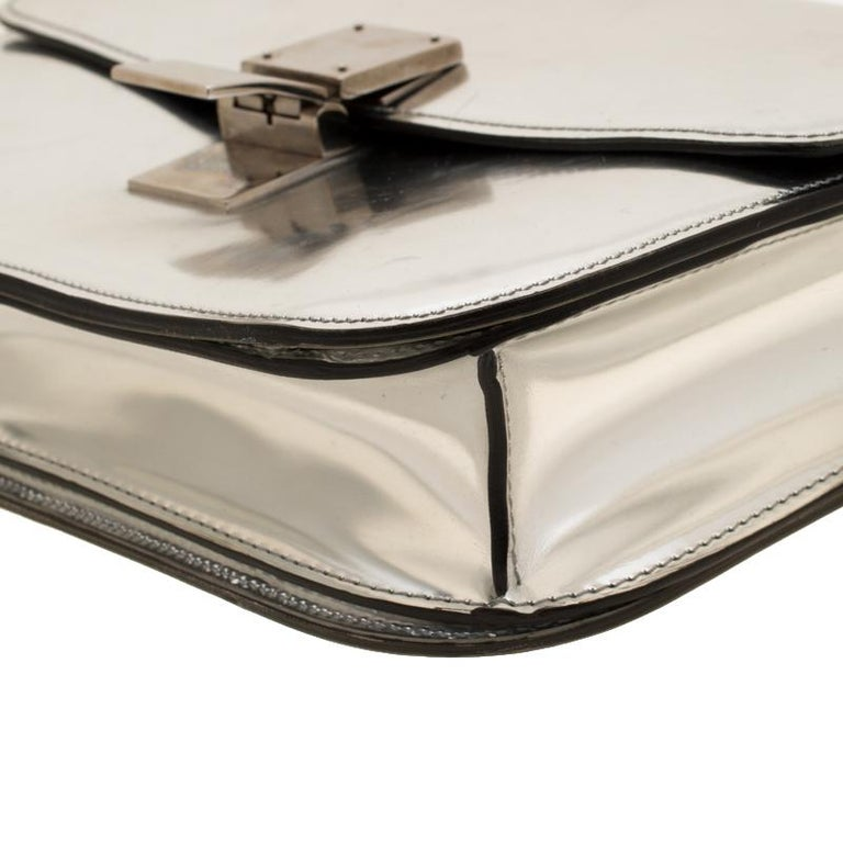Celine Metallic Silver Leather Medium Classic Box Shoulder Bag For Sale 2