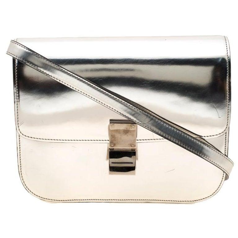 Celine Metallic Silver Leather Medium Classic Box Shoulder Bag For Sale