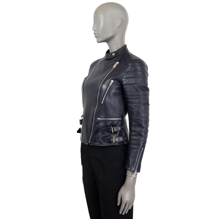 Black CELINE midnight blue leather BIKER Jacket 38 S For Sale