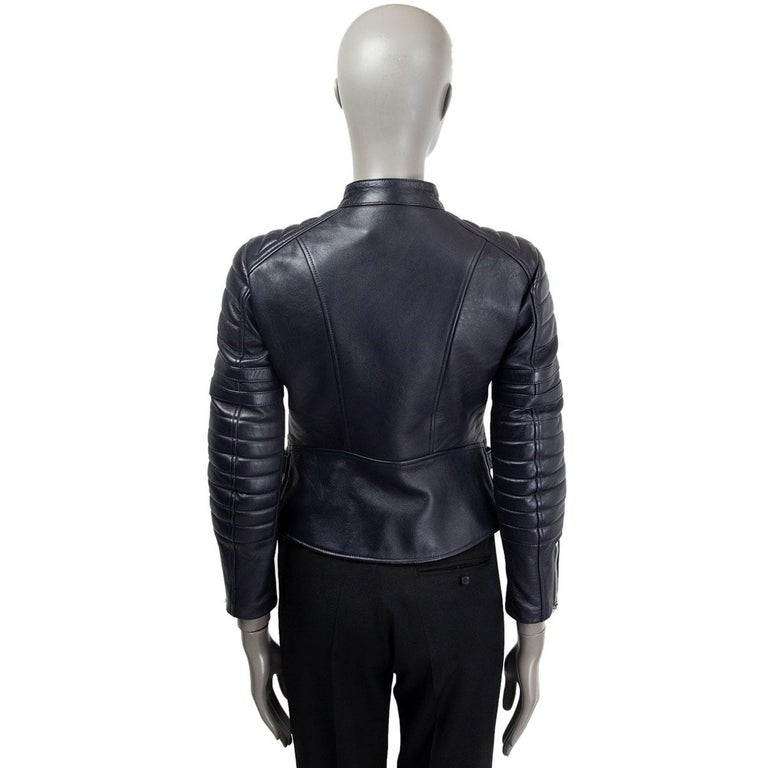 CELINE midnight blue leather BIKER Jacket 38 S In Fair Condition For Sale In Zürich, CH