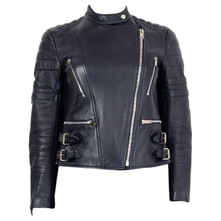 CELINE midnight blue leather BIKER Jacket 38 S For Sale