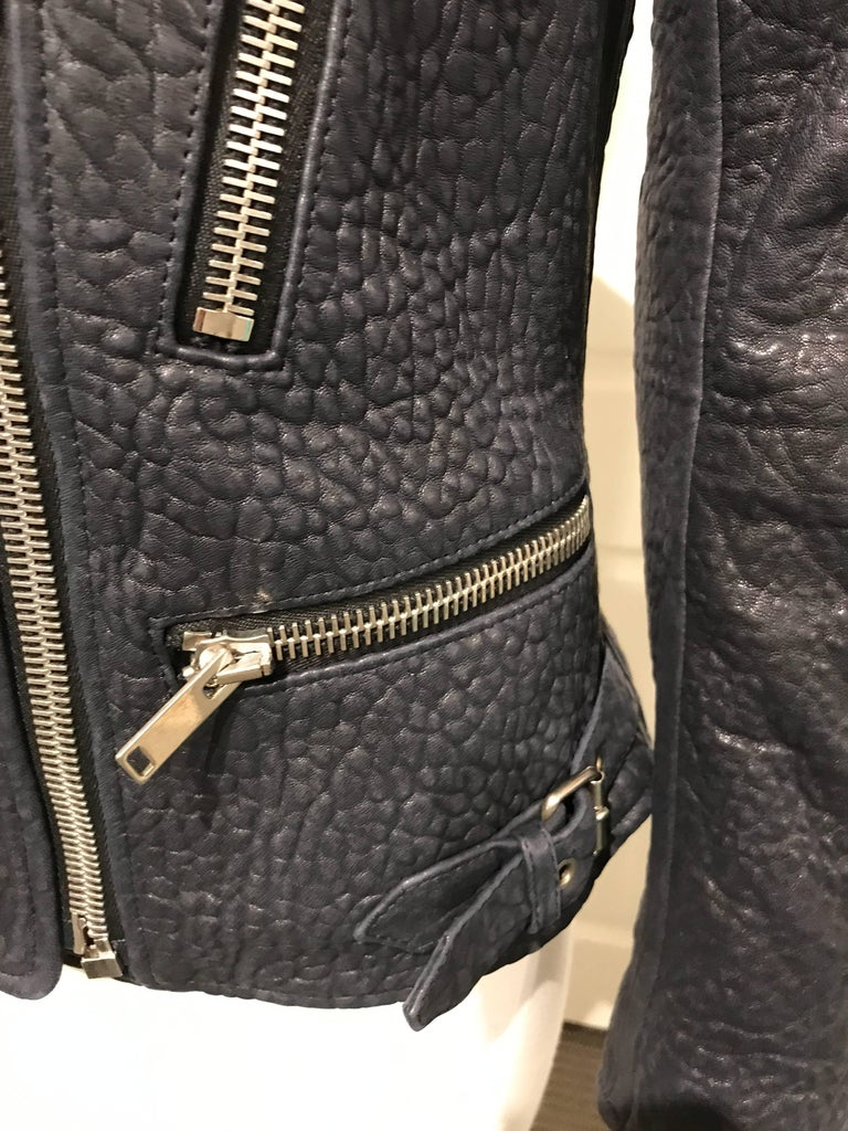 Black Celine Midnight-blue Leather Biker Jacket Sz 36 (Us4) For Sale