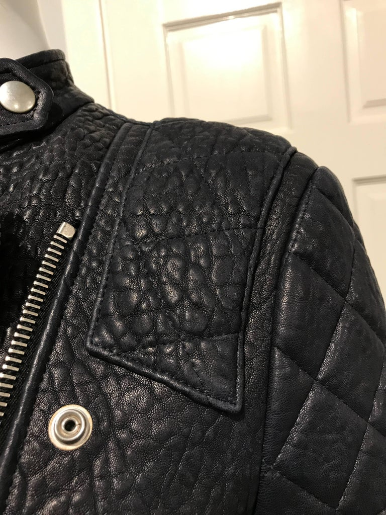 Celine Midnight-blue Leather Biker Jacket Sz 36 (Us4) In New Never_worn Condition For Sale In San Francisco, CA