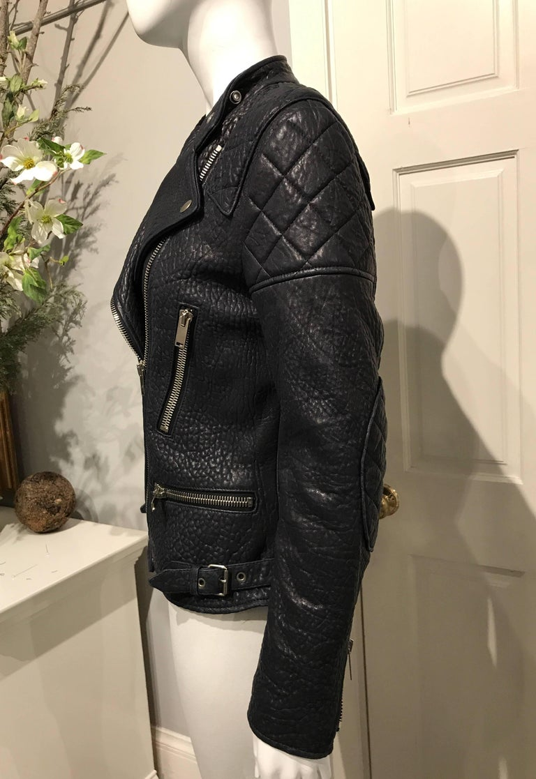 Women's Celine Midnight-blue Leather Biker Jacket Sz 36 (Us4) For Sale