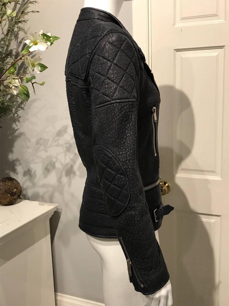 Celine Midnight-blue Leather Biker Jacket Sz 36 (Us4) For Sale 2