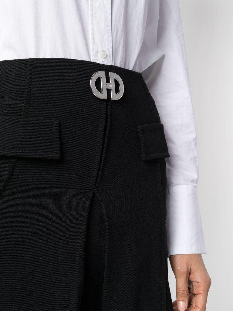 Celine Mini Black Wool Short Skirt  In Excellent Condition For Sale In Paris, FR