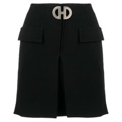 Celine Mini Black Wool Short Skirt