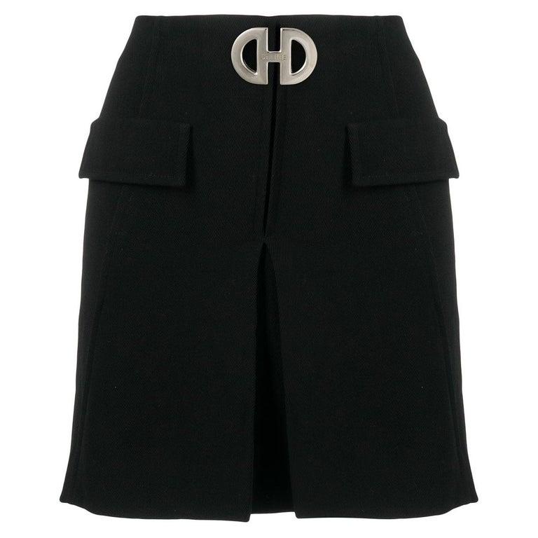 Celine Mini Black Wool Short Skirt  For Sale