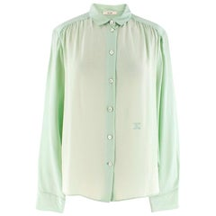 Celine Mint Green Mulberry Silk Shirt XL 44