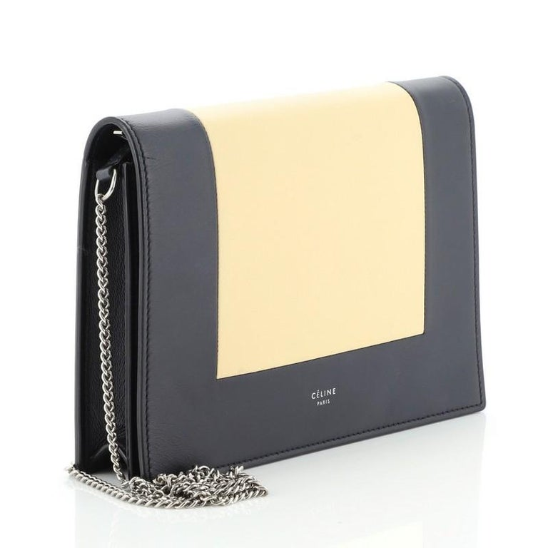Black  Celine Model: Frame Evening Clutch on Chain Leather For Sale