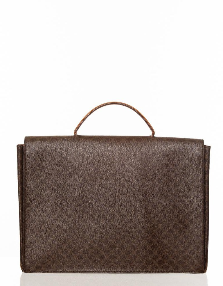 Celine Monogram Brown Leather Briefcase  Bag  Vintage Celine brown leather briefcase with Celine monogram print, flat leather top handle, flap closure and an interior with patch pockets.  COLOR: Brown MATERIAL: Leather DATE CODE: F/10 COMES WITH: