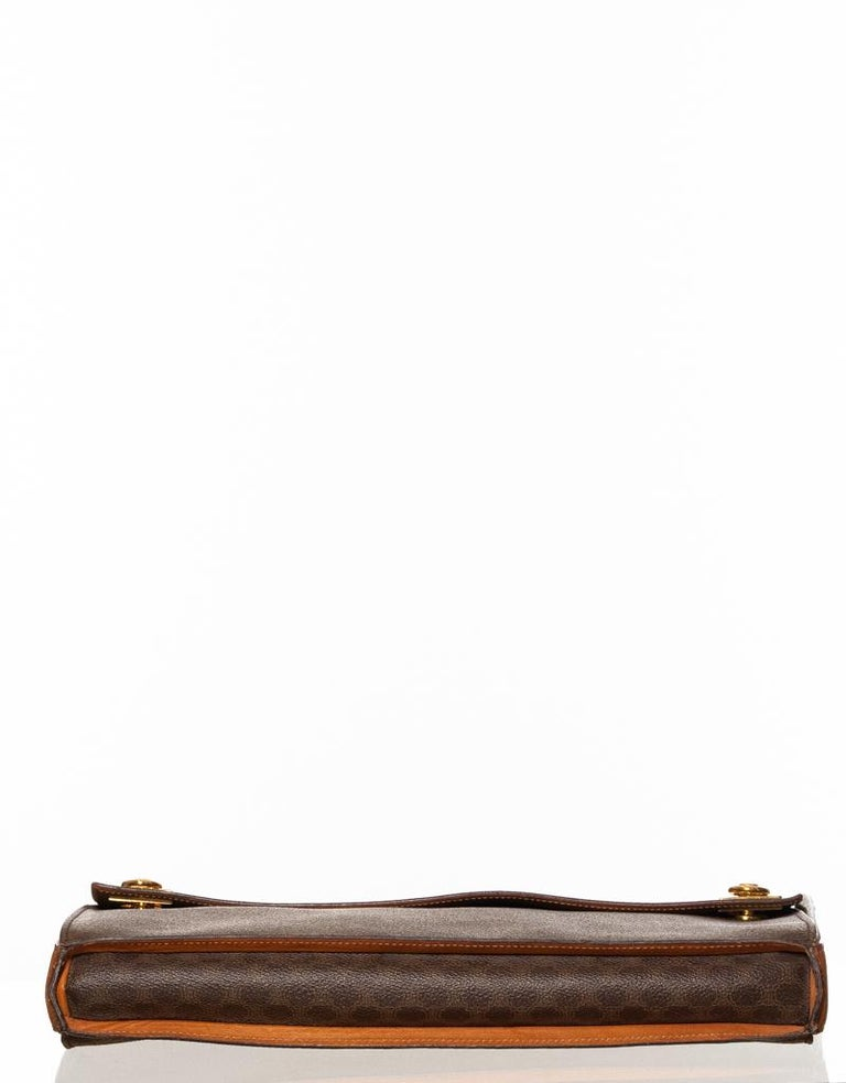 Celine Monogram Brown Leather Briefcase  Bag In Good Condition In Montreal, Quebec
