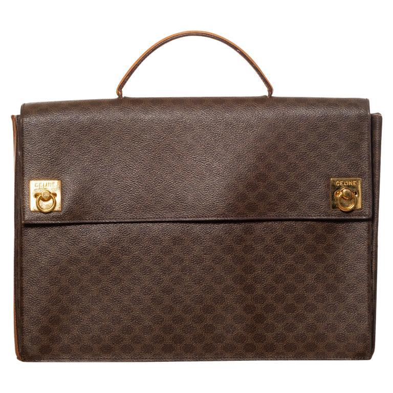 Celine Monogram Brown Leather Briefcase  Bag