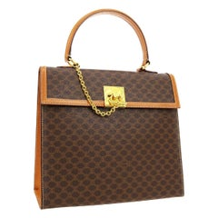 Celine Monogram Cognac Gold Chain Kelly Style Top Handle Satchel Flap Bag