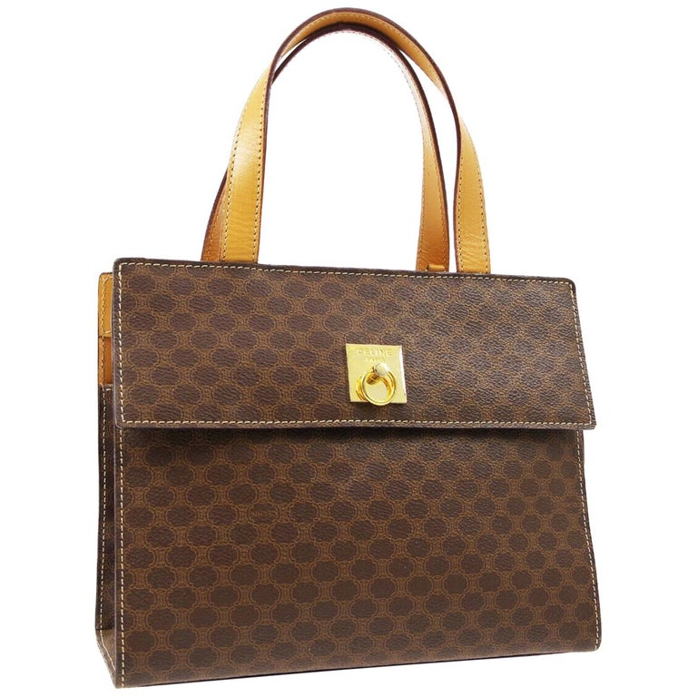 Celine Monogram Cognac Gold Kelly Style Top Handle Satchel Flap Bag For Sale