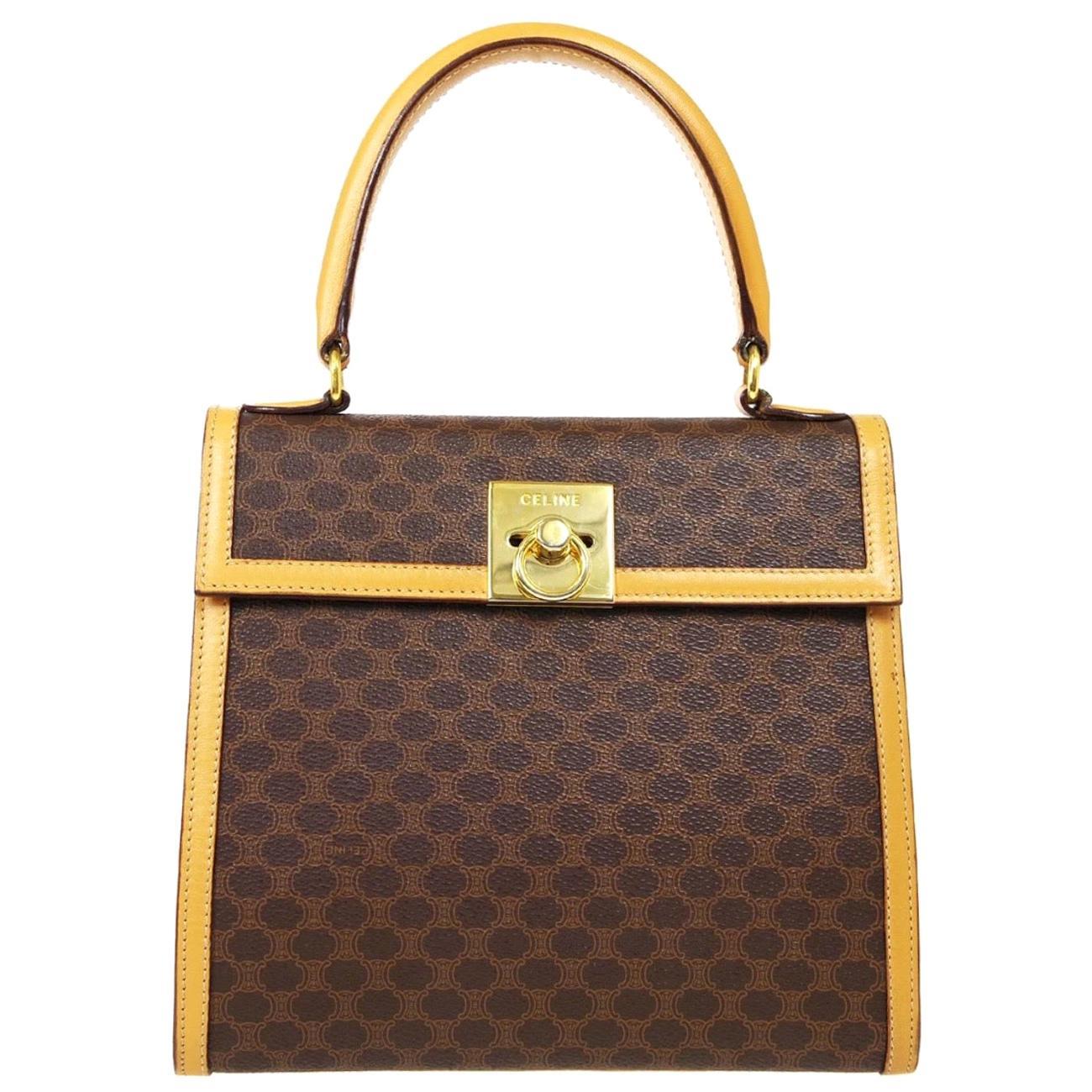 Celine Monogram Cognac Gold Kelly Style Top Handle Satchel Flap Shoulder Bag