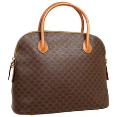 Celine Monogram Cognac Gold Top Handle Bowling Bolide Style Satchel Tote Bag