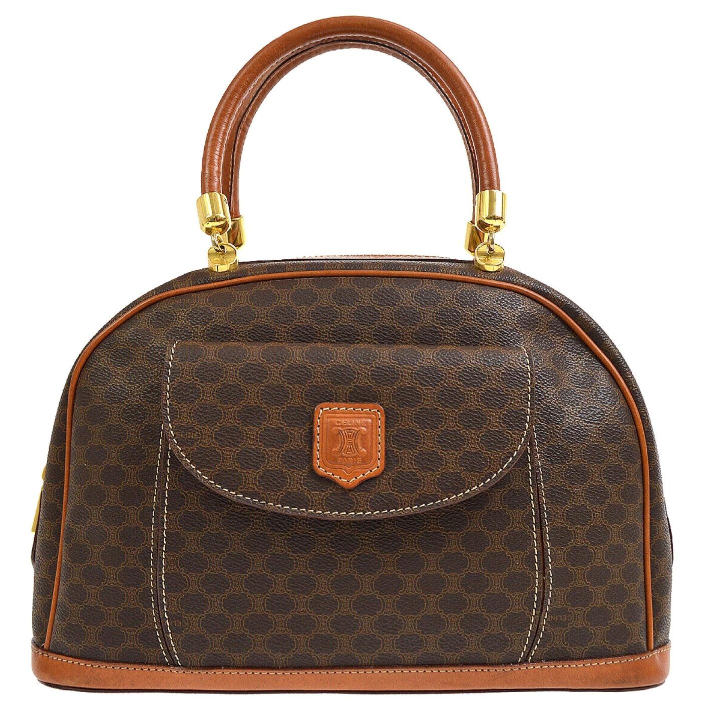 Celine Monogram Cognac Gold Top Handle Satchel Tote Bag