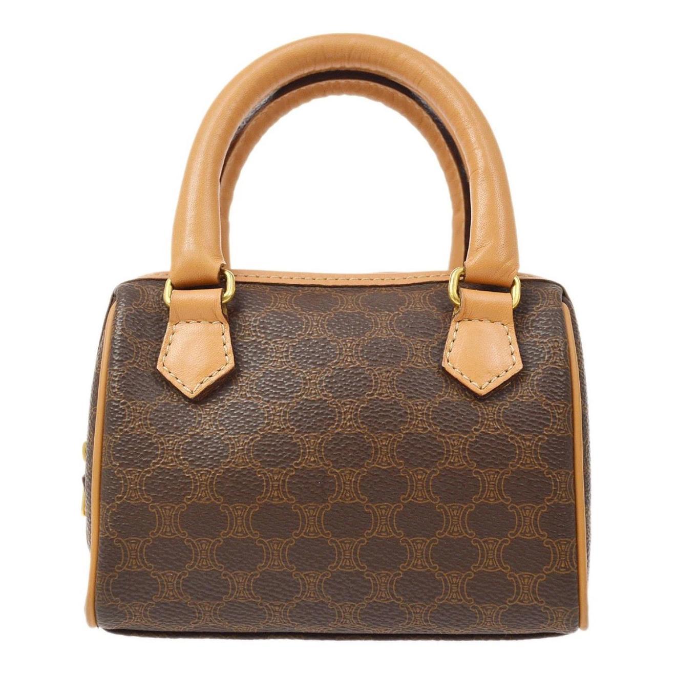 Celine Monogram Cognac Logo Gold Small Mini Top Handle Satchel Flap Bag